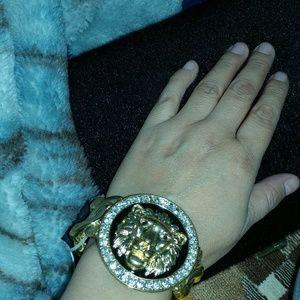 Lion's head gold wide bracelet
